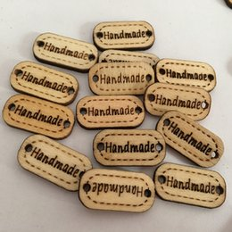 carved wood gifts Australia - Handmade Tag Label Wooden Buttons Mini Oval Laser Engraved Handmade Wood Tags with 2 Holes for Crafts Sewing Clothing Decoration