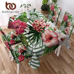 round flower table cloth NZ - BeddingOutlet Flowers Kitchen Tablecloth Leaves Red Green White Waterproof Table Cloth Tropical Plants Decorative Table Cover SH190925