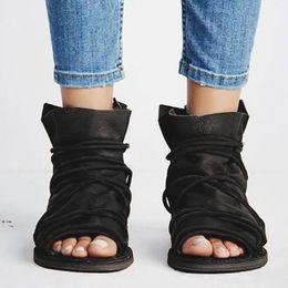 $enCountryForm.capitalKeyWord Australia - Womens Fashion Open Toe Casual Zipper Flats Cross Straps Roman Ladies Sandals flat casual shoes summer sandals women