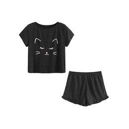 Women s Casual Cat Nightwear Set Lovely Shorts Short Sleeve Ruffled T-Shirt  Sleepwear Suit Woman Clothes Sexy Pajamas NEW 3b9869e54