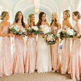 $enCountryForm.capitalKeyWord Australia - Rose Gold Bridesmaid Dresses Cheap Long 2019 Strapless Sleeveless Floor Length Sequined Fabric Formal Maid Of Honor Wedding Guest Dress