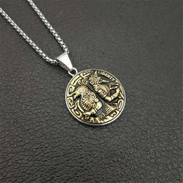 Egypt Pendants Australia - Egypt Stainless Steel Round Horus Anubis Pendant Necklace For Men Ancient Egyptian Jewelry Male Gift XL1310