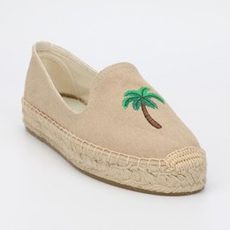fishermen flats Australia - DZYM Spring Autumn Coconut Tree Design Flats Canvas Espadrilles Embroidery Loafers Women's Fishermen Shoes Sewing Zapatos