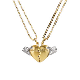double heart love pendant NZ - Bling Charm Broken Love Heart Magnet Pendant Stainless Steel 18K Gold Plated Necklaces Men Women Double Rope Chain For Lovers Jewelry