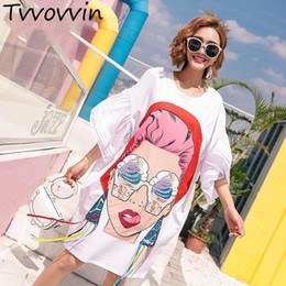 $enCountryForm.capitalKeyWord Australia - 2019 Summer Girl Cartoon Sequins Print Asymmetrical Tops Tassel Irregular T Shirt Loose Plus Size Big Womans Fashion Tops S030 J190613