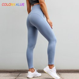 ed36c6686a0 Colorvalue High Waisted Running Sport Leggings Women Plain Push Up Fitness  Workout Tights Quick Dry Tummy Control Gym Yoga Pants C190420