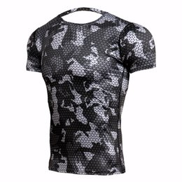 ingrosso dry fit xs maglietta-Rashgard Mens Sport Running T Shirt Uomo Camouflage Gym Fitness MMA Allenamento Camicie Dry Fit Sportswear Top Soccer Maglie