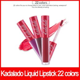 Quality waterproof lipstick online shopping - Famous brand KADALADO Lipgloss Long Lasting Waterproof Liquid Matte Lipstick Lip Gloss Lip Cosmetics Makeup colors high quality