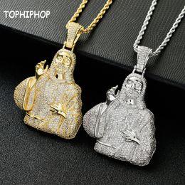 $enCountryForm.capitalKeyWord Australia - European and American Jesus Christ pendant portrait ornament hip hop micro set zircon large glossy necklace vintage religious