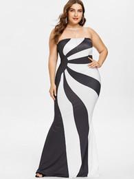 Discount white color block dresses - Wipalo Plus Size 5XL Women Color Block Floor Length Bandeau Dress Formal Strapless Elegant Maxi Long Party Dress Vestido