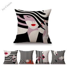 "girl pop art 2019 - 18"" Fashion Girl Black White Stripes Abstract POP Art Sofa Throw Pillow Cotton Linen Salon Beauty Store Decoration"