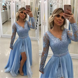 Black pearl dress v Back online shopping - V Neck Pearls Lace Appliques Baby Blue Evening Dresses Long Sleeves With Detachable Skirt And Pearl Sash Prom Gowns