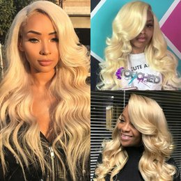 Body Wave Long Hair Australia - Full front lace virgin long wig human hair with baby hair 100% unprocessed remy 613# body wave high quality for women