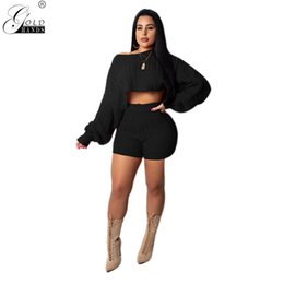 74a1bd8f20 Gold Hands Streetwear Winter Women Two Piece Sets Solid Casual Knitted Tops  and Short Pants Sexy Female Club Outfits Plus Size