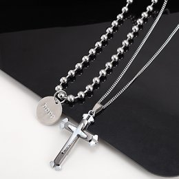 $enCountryForm.capitalKeyWord NZ - 2019 Hip Hop New Personality Jewelry Necklace Female Letter Cross Alloy Double Chain Pendant Fashion Accessories Cool Wind