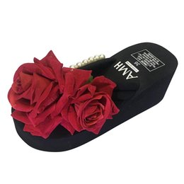 Girls Canvas Shoes Floral Australia - xiniu Women Ladies Girls Floral Wedges Flip Flops Sandals Slippers xiniu Thick Bottom Sexy passionate red rose Beach Shoes #0427