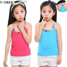 $enCountryForm.capitalKeyWord Australia - Summer Children Shirts Cotton T-shirt For Girls Candy Color Teenager Blouse Sleeveless Kids Tees Baby Undershirt 8 10 12