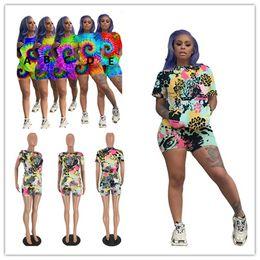 Tiger sporTswear online shopping - Summer Women Tracksuit Floral Pocket T shirt Shorts Piece Set Tie dye Tiger Short Sleeve Tops Tee Shorts Outfits Woman Sportswear A52401