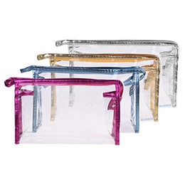 Multi Color Hand Bag Australia - PVC Clear Color Zipper Cosmetics Bag, Hand Pouch Organizer Makeup Bag