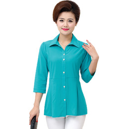 ae4d31b32f21 Woman Casual Shirt Half Sleeve Top Red Green Blue Plain Blouses Women Turn  Down Collar Tops Peplum Blouses Bottom Front Top 2019