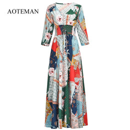 f0f663ff3ca51 Summer Dress Women 2019 Sexy Casual V-neck Print Floral Boho Beach Party  Dresses Ladies Elegant Long Maxi Dress Vestidos T4190604