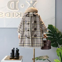 princess line winter long coats UK - Baby Girl Clothing Out Wear Coat Turn Down Collar Long Sleeve Plaid Design Princess Girl Winter warm Coat