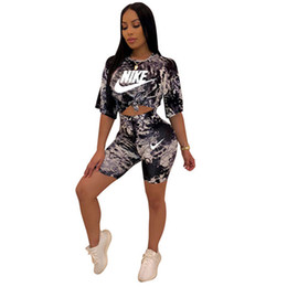 $enCountryForm.capitalKeyWord UK - Women designer brand two piece set 1 2 sleeve jogging suit outfit t-shirt bodycon leggings shorts above knee summer clothing plus size 648