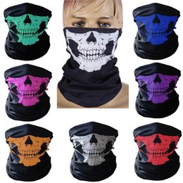 Bicycle Black Ghost Australia - New 2018 Halloween Skull Party Black Mask Bicycle Ski Skull Half Face Mask Ghost Scarf Multi Use Neck Warmer 7.27