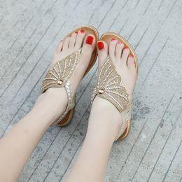 $enCountryForm.capitalKeyWord Australia - Hot Sale-Summer Sandals Butterfly Wing Women T-strap flip flops Thong Sandals Designer Elastic Band Rhinestone Wedges sandal for women