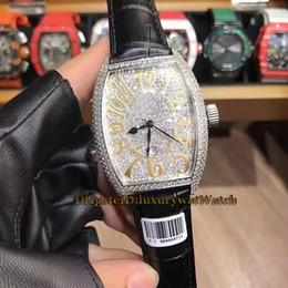 H Case Australia - Luxry Brand New 46mm LADIES'COLLECTION 5000 H SC D3 CD Diamond Dial Silver Case Quartz Movement Mens Watch Black Leather Strap Watches 02