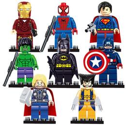 $enCountryForm.capitalKeyWord NZ - wholesale 8pcs lot Super Heroes Building Blocks Sets The Avengers Iron Man Hulk Batman Wolverine Thor Bricks Toys Very low price