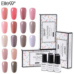 Discount nude uv color gel Elite99 5PCS Nude Color Gel Polish Set Soak Off UV LED Nail Varnish Lacquer Gel Polish Manicure Nail Gel Set with Gift Box