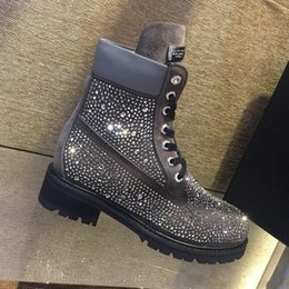 Boots Warm Up Australia - Fashion Snow Boots Shoes for Women Luxury Warm Ankle Lace Up Ladies Women Shoes Platform Motorcycle Boots with qp Logo BlingBling Style Sale
