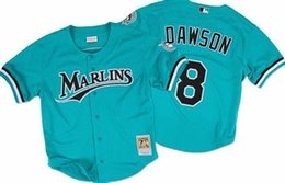Chinese  Men's Mitchell & Ness Andre Dawson Florida Marlins Teal Fashion Cooperstown Collection Baseball Jerseys Free Shipping Size S-3XL manufacturers