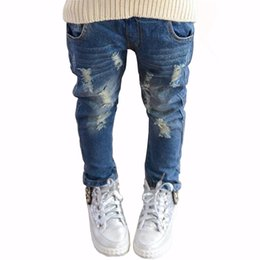 autumn kids leggings UK - 2018 Spring Autumn Elastic Waist Children Denim Pants Kids Boys Jeans Casual Ripped Leggings For Baby Girls Child Clothes Y19051504