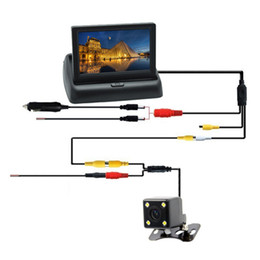 Wired camera kit online shopping - Car Rearview Kit Foldable LCD Screen Reversing Camera Monitor High Definition Easy Install Wired With Light