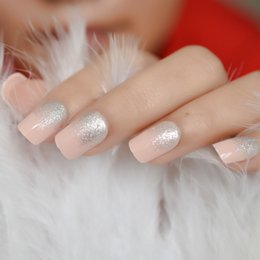 $enCountryForm.capitalKeyWord NZ - Silver Glitter French False Nails Tips Full Cover Artificial Acrylic Soft Pink Press on Fake Finger Nail Art Back Glue Designed