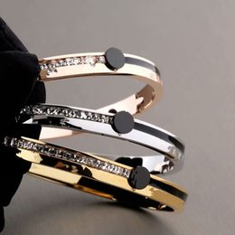 316 Stainless Bracelet Australia - Brand Bijoux Bangles 316 L Titanium Stainless Steel Full Crystal Bangles Bracelets Fashion Jewelry For Women and Men Non fading
