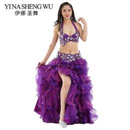 256179942 Professional Oriental Dance Costume 2pcs 3pcs Bra Belt Skirt Adult Belly  Dance Performance Costumes Professional Belly Set