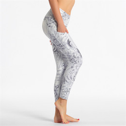 Wholesale patterned yoga leggings for sale - Group buy Printing Bulifting Skinny Pants Flowers Pattern High Waist Bodybuilding Athletic Trousers Ladies Yoga Exercise Leggings Clothes om E19