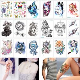 37fd66df8 15*21cm LC Waterproof Temporary Body Art Tattoo Sticker Wolf Tiger Beauty  Women Skull Flower Decal Design Tattoo for Female Male Sexy Summer