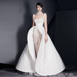 detachable prom dresses UK - White Applique Formal Evening Gown Sheer Tulle Lace Mermaid Prom Dress Spaghetti Detachable Scoop Back Reception Dress