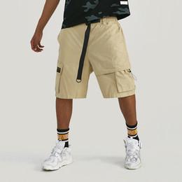 Mens Black Khaki Shorts Australia - Mens Summer Casual Patchwork Pocket Shorts Skateboard Streetwear Fashion Loose Breathable Cargo Shorts Black Khaki Two Colors Drop Shipping