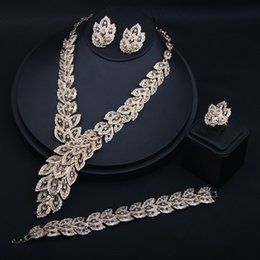 $enCountryForm.capitalKeyWord Australia - New Arrival 2019 Gold Wedding Jewelry Sets Necklace Earrings Chain And Ring Cheap Alloy Jewelries For Party