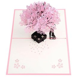 Adeeing Romantic 3D Cherry Blossom Shape Greeting Card For Birthday Wedding Lovers Supplies