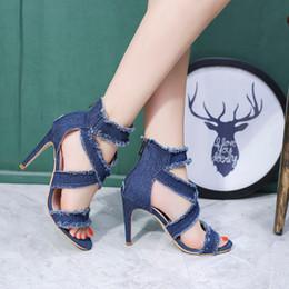 6919896be2249 Designer Dress Shoes Peep Toe Gladiator Women Pumps Women Fashion Solid Denim  High Heels Cutout Stiletto Zip Thin Heels Party Blue