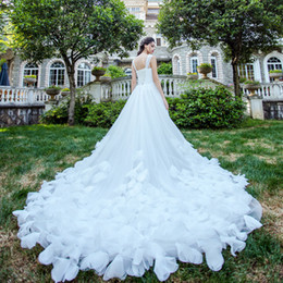 pictures wedding dresses court NZ - 2020 Bohemian Wedding Dresses Feather Sleeveless Court Train Beach Boho Garden Country Bridal Gowns robe de mariée Plus Size A line Gowns