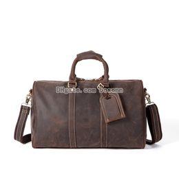 d4f1de2788 Leather Weekender Bags Australia - NEW Genuine Leather Travel Duffel Bag  Men s Women s Retro Handbag Large