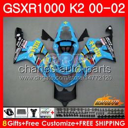 Gsxr rizla fairinG kits online shopping - Bodys For SUZUKI GSXR GSX R1000 GSXR1000 Frame HC GSX R1000 K2 GSXR Fairing new RIZLA cyan kit