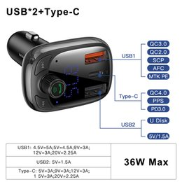 Wholesale Quick Charge 4.0 Car Charger for Phone FM Transmitter Bluetooth Car Kit Audio MP3 Player Fast Dual USB Car Phone Charger